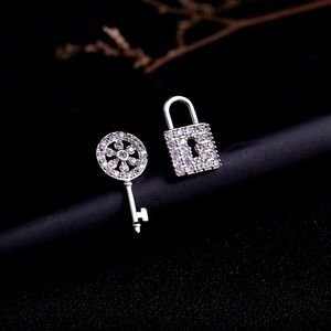 Crystal Cubic Zirconia Lock Key Stud Earrings